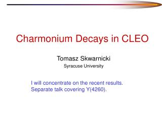 Charmonium Decays in CLEO