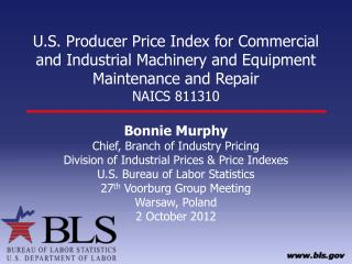 Bonnie Murphy Chief, Branch of Industry Pricing Division of Industrial Prices & Price Indexes
