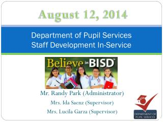 Department of Pupil Services Staff Development In-Service