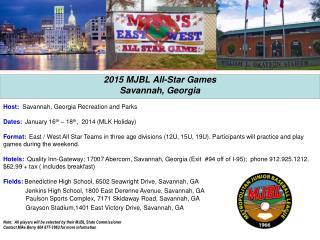 2015 MJBL All-Star Games  Savannah, Georgia
