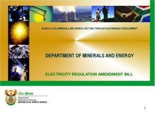 ELECTRICITY REGULATION AMENDMENT BILL