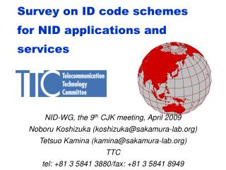 Survey on ID code schemes for NID applications and services