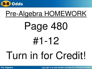 Pre-Algebra HOMEWORK