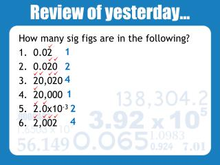Review of yesterday…
