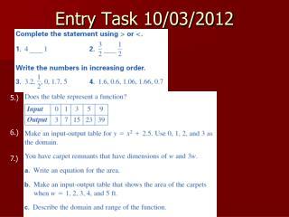 Entry Task 10/03/2012