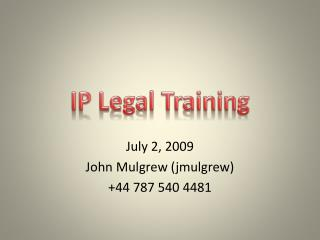 IP Legal Training