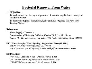 Bacterial Removal From Water