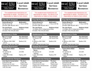 Local Adult Services Resources