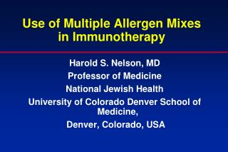 Use of Multiple Allergen Mixes in Immunotherapy