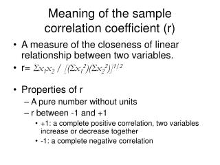 Meaning of the sample correlation coefficient (r)