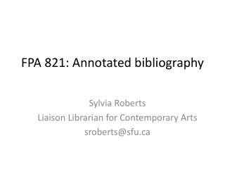 FPA 821: Annotated bibliography