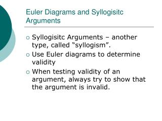 Euler Diagrams and Syllogisitc Arguments