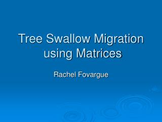 Tree Swallow Migration using Matrices