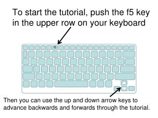 To start the tutorial, push the f5 key in the upper row on your keyboard