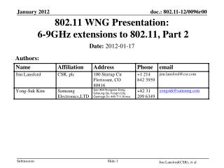 802.11 WNG Presentation:  6-9GHz extensions to 802.11, Part 2
