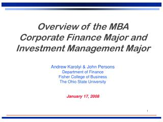 Overview of the MBA Corporate Finance Major and Investment Management Major
