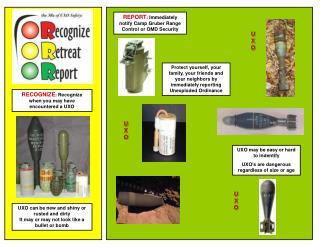 RECOGNIZE :  Recognize when you may have encountered a UXO