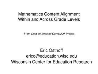 Mathematics Content Alignment  Within and Across Grade Levels