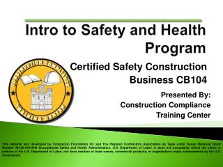 Certified Safety Construction Business CB104
