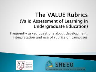 The VALUE Rubrics (Valid Assessment of Learning in Undergraduate Education)