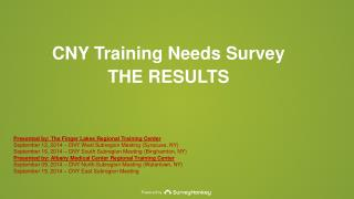 CNY Training Needs Survey THE RESULTS