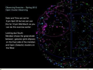 Observing Exercise – Spring 2012 Open Cluster Observing