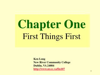 Chapter One First Things First