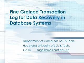 Fine Grained Transaction Log for Data Recovery in Database Systems