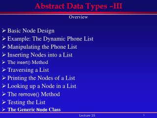 Abstract Data Types –III