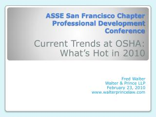 ASSE San Francisco Chapter Professional Development Conference