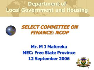 SELECT COMMITTEE ON FINANCE: NCOP