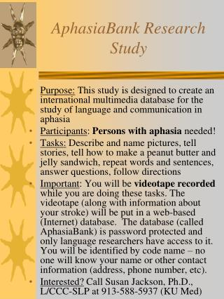 AphasiaBank Research Study
