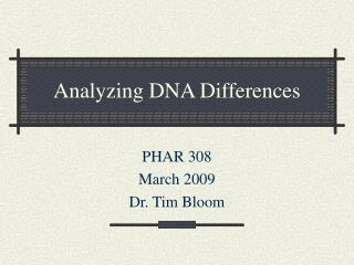 Analyzing DNA Differences