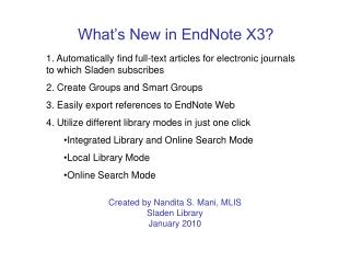 What's New in EndNote X3?