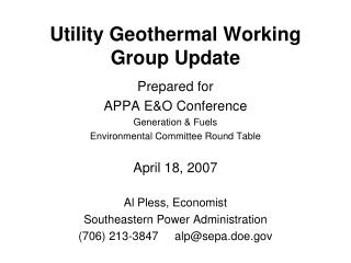 Utility Geothermal Working Group Update