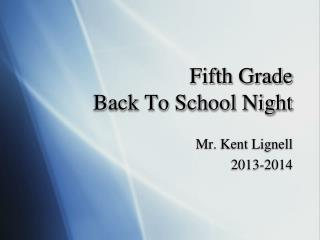 Fifth Grade Back To School Night