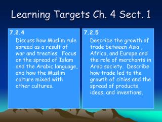Learning Targets Ch. 4 Sect. 1