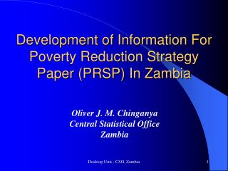 Development of Information For Poverty Reduction Strategy Paper (PRSP) In Zambia