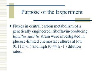 Purpose of the Experiment