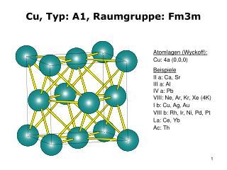 Cu, Typ: A1, Raumgruppe: Fm3m