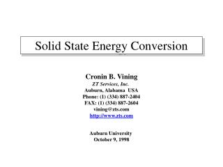 Solid State Energy Conversion