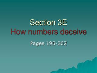 Section 3E How numbers deceive