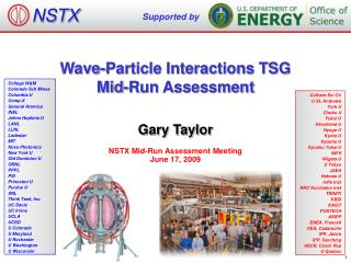 Wave-Particle Interactions TSG Mid-Run Assessment