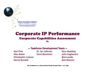 Corporate IP Performance Corporate Capabilities Assessment By