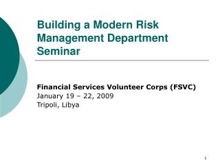 Building a Modern Risk Management Department Seminar