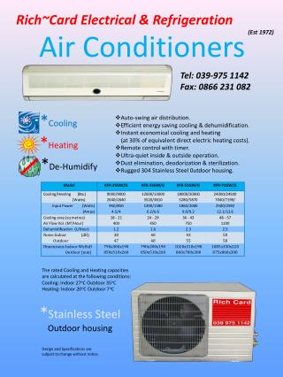 The rated Cooling and Heating capacities are calculated at the following conditions: