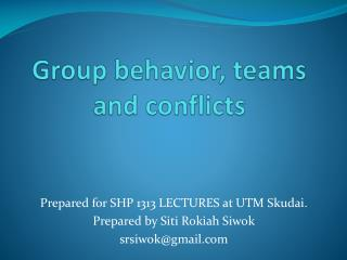 Group behavior, teams and conflicts