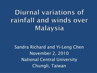 Diurnal variations of rainfall and winds over Malaysia