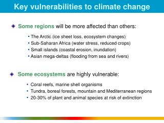 Key vulnerabilities to climate change