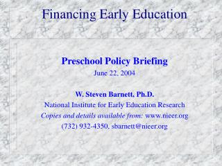 Financing Early Education